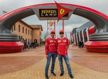Kimi Räikkönen al Ferrari Land prima del Gran Premio