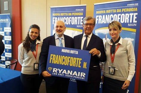 Ryanair, altri cinque anni in Umbria: nuova rotta Perugia-Francoforte